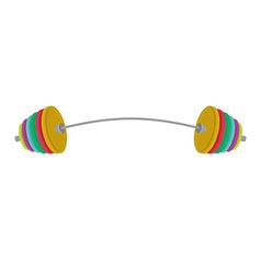 Athletic Barbell with a bent neck Colored weight vector image