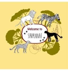 Background with savanna animals-03 vector