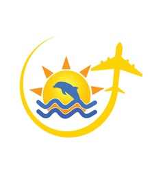 Beach icon with dolphin color vector