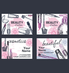 Beauty salon business card hand drawn vector