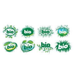 bio sign in the form of leaves and grass vector image