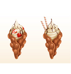 Bubble waffles with strawberry and caramel vector