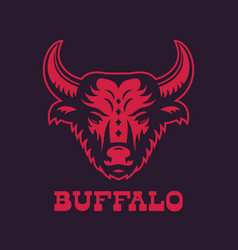 Buffalo bull head logo element red on dark vector