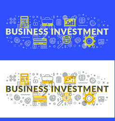 business investment flat line concept for web vector image