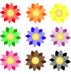 Button 2 color flowers vector