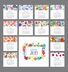 Calendar 2019 floral with colorful vector