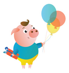 cartoon cute pig with the gift and balloons vector image