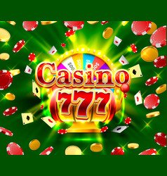 Casino 777 big win slots and fortune banner vector