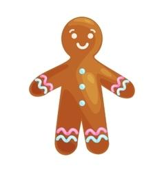 christmas cookies smiling gingerbread man vector image