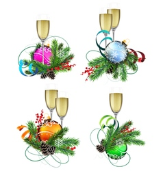 Christmas decoration elements with champagne vector