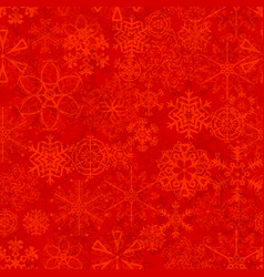 christmas seamless pattern with snowflakes on red vector image