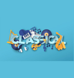 Classic orchestra music papercut icon design vector