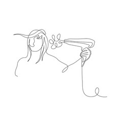 Continuous one line woman dries hair with a vector
