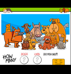 Counting cats and dogs educational game for kids vector