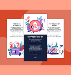 cryptocurrency trading and blockchain technology vector image