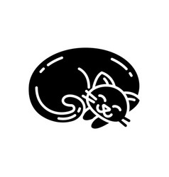 Curled up cat black glyph icon vector