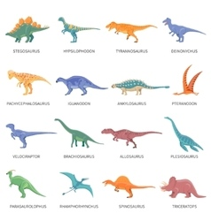 Dinosaurs Colored Isolated Icons Set vector image