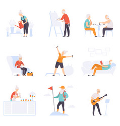 Elderly people enjoying various hobbies senior vector