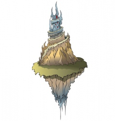 Fairy castle on flying island vector
