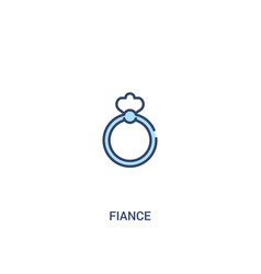Fiance concept 2 colored icon simple line element vector
