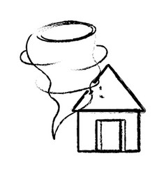 figure house with tornado storm disaster weather vector image
