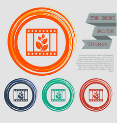 Film icon on the red blue green orange buttons vector