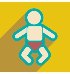 Flat icon with long shadow newborn baby vector
