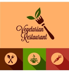 flat vegetarian restaurant icons set vector image