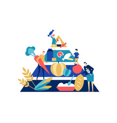 food pyramid - flat design style colorful vector image