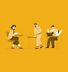 freelancers or employees working on laptops vector image