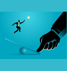 giant thumb helping businessman to jump on seesaw vector image