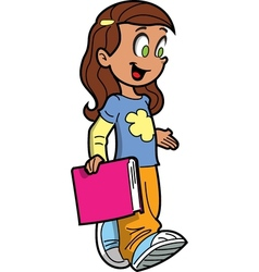 Girl with book vector