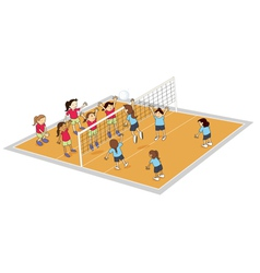 girls playing volley ball vector image