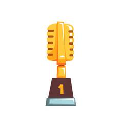 Golden trophy with retro vector