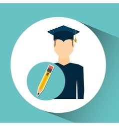 graduate student man pencil icon vector image