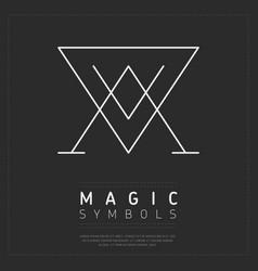 Graphic magic symbol in white lines vector