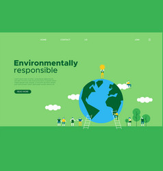 Green earth day social web landing page template vector