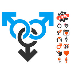 group gay sex icon with lovely bonus vector image