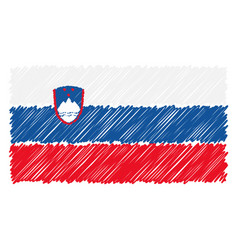 hand drawn national flag of slovenia isolated on a vector image