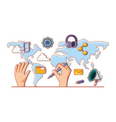 hand with continents and social media set icons vector image