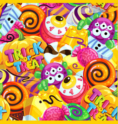 happy halloween sweet seamless pattern vector image