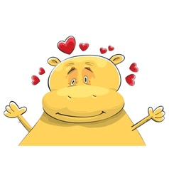 happy hippopotamus in love vector image