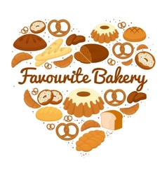 Heart shaped cakes sweets and bread badge vector