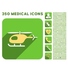 Helicopter Icon and Medical Longshadow Icon Set vector image
