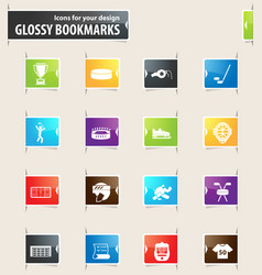 Hockey bookmark icons vector