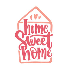 Home sweet lettering written with cursive vector