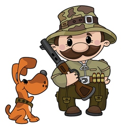 hunter and dog vector image