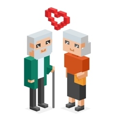 Isometric old family couple in love celebtrate vector