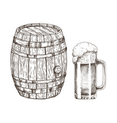 Keg of beer and glass of ale isolated on white vector