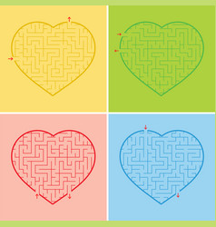 labyrinth heart a set of four options a simple vector image